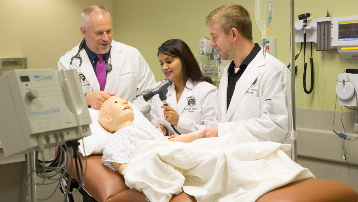 Robert Jay Amrien instructs Bryant physician assistant students