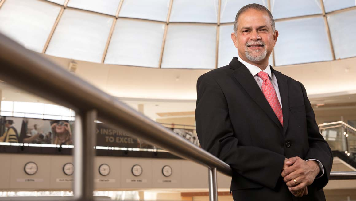 Madan Annavarjula, Ph.D., Dean of the College of Business at Bryant University in the Rotunda