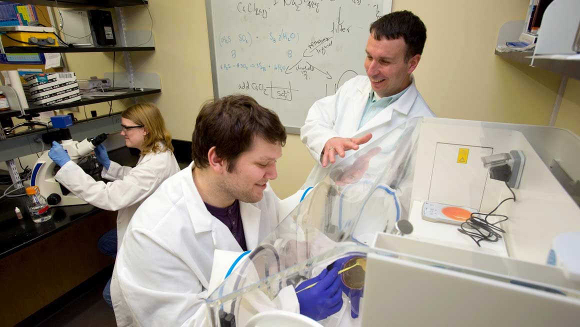 Bryant Science Professor Chris Reid works with his student research team