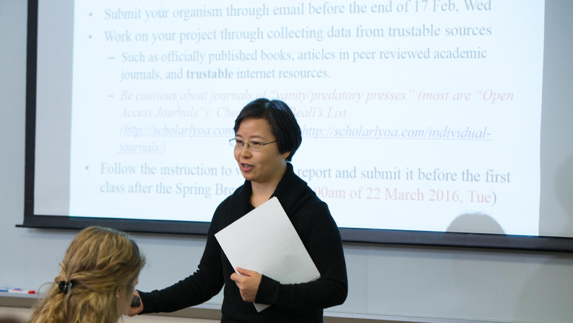 Prof. Leng in her classroom