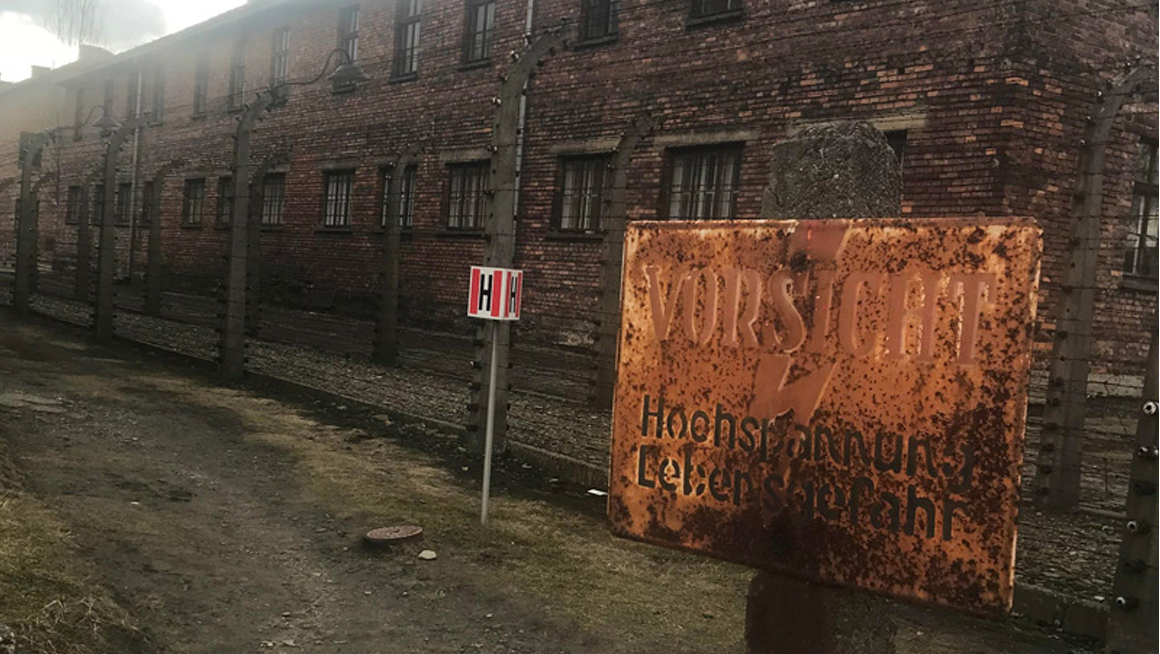 Photo of Polish concentration camp visited by Bryant students