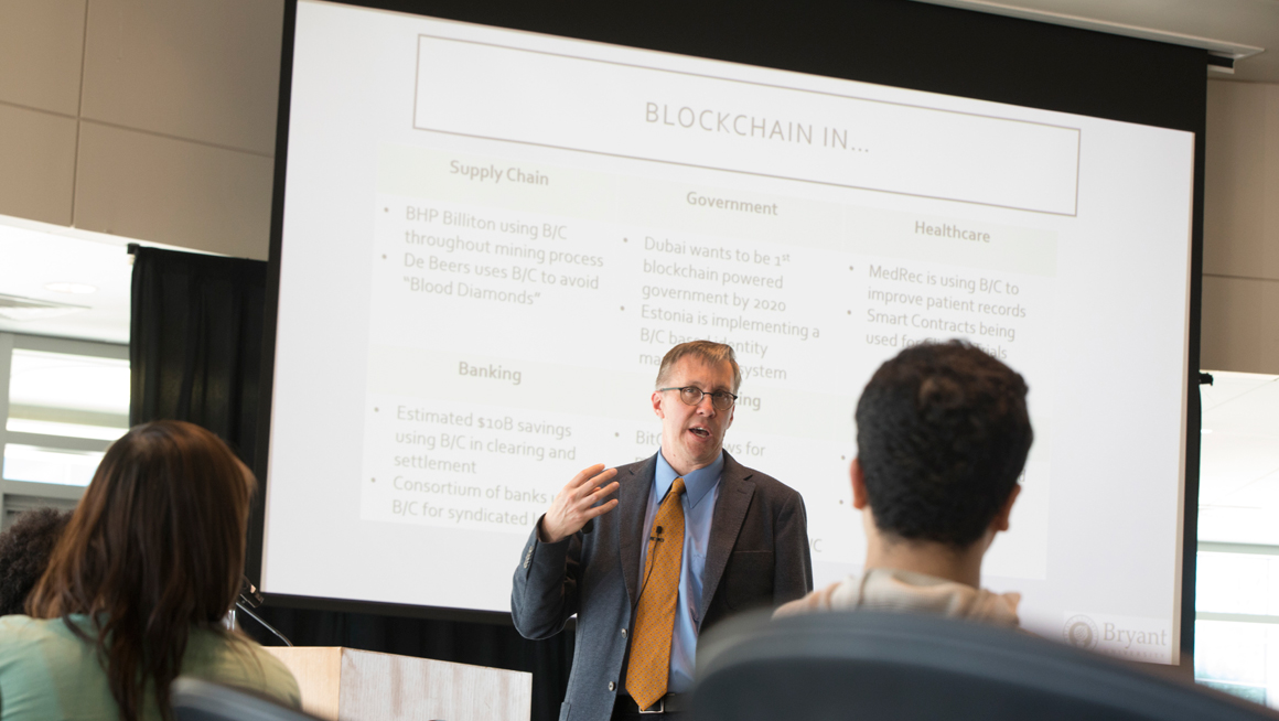 Prof. Mentzer presenting about block chain technology