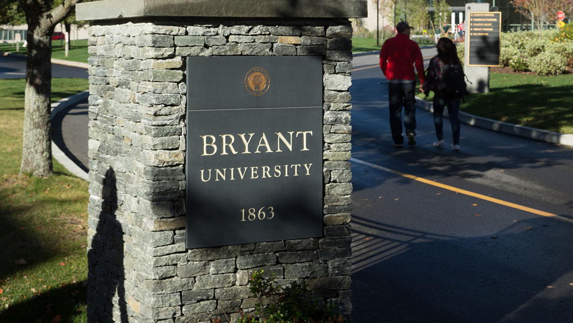 Stone entrance to Bryant University