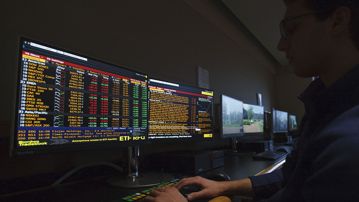Bryant student at Bloomberg Terminals