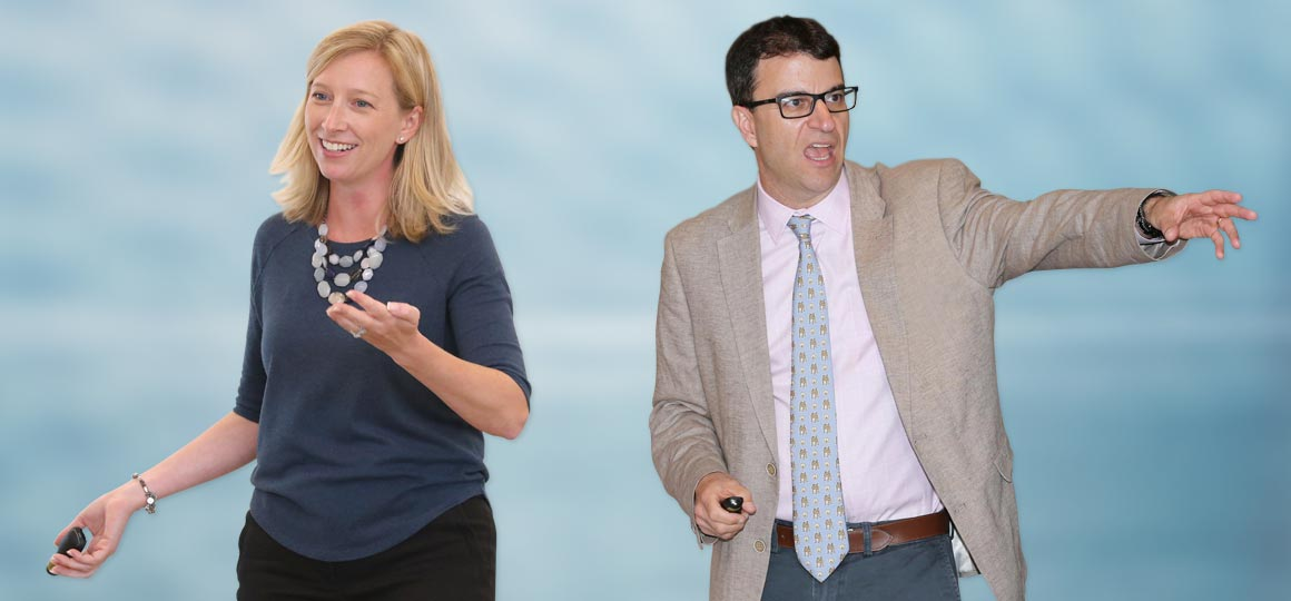 Bryant University design thinking experts Allison Butler, Ph.D., Associate Professor of Applied Psychology, and Michael Roberto, D.B.A., Trustee Professor of Management