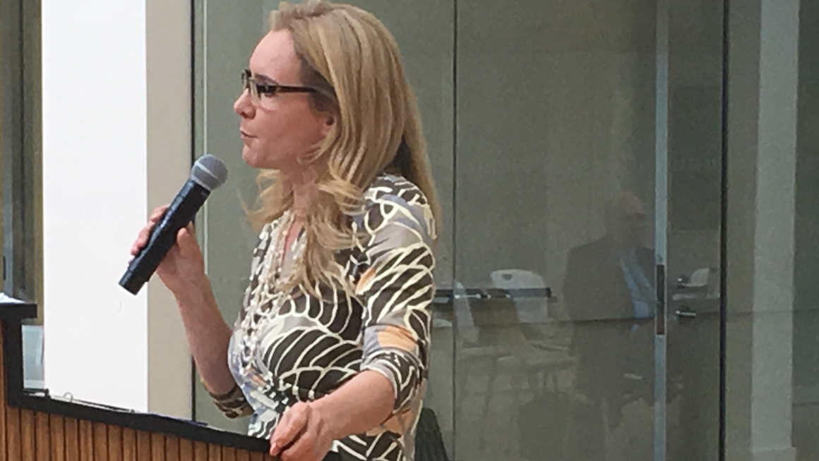 Columnist and political editor A.B. Stoddard speaking at Bryant