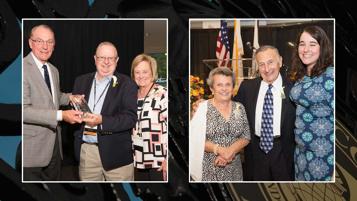 Bryant's 2018 Champions for Philanthropy Award Winners James S. Richardson '68 and Shirley Ann Richardson, and Mary and George Agostini