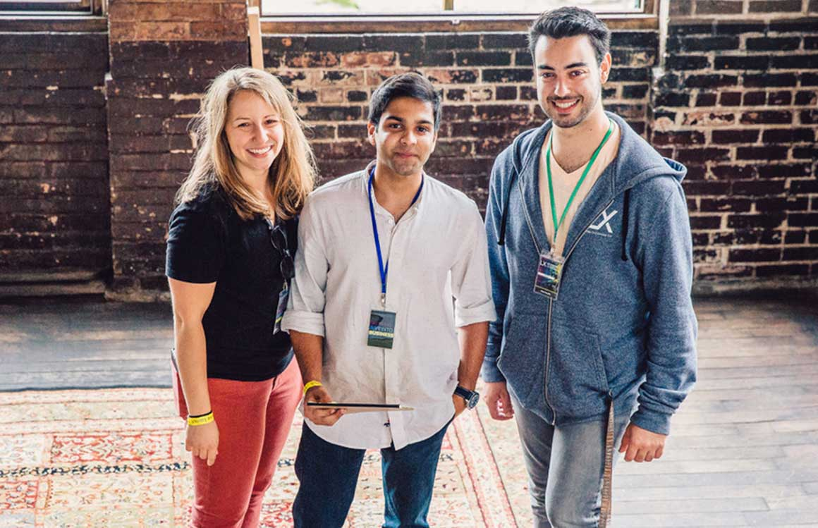 Lindsey Lerner '15 with interns Arnav Vaid '20 and Matthew Merolla '19