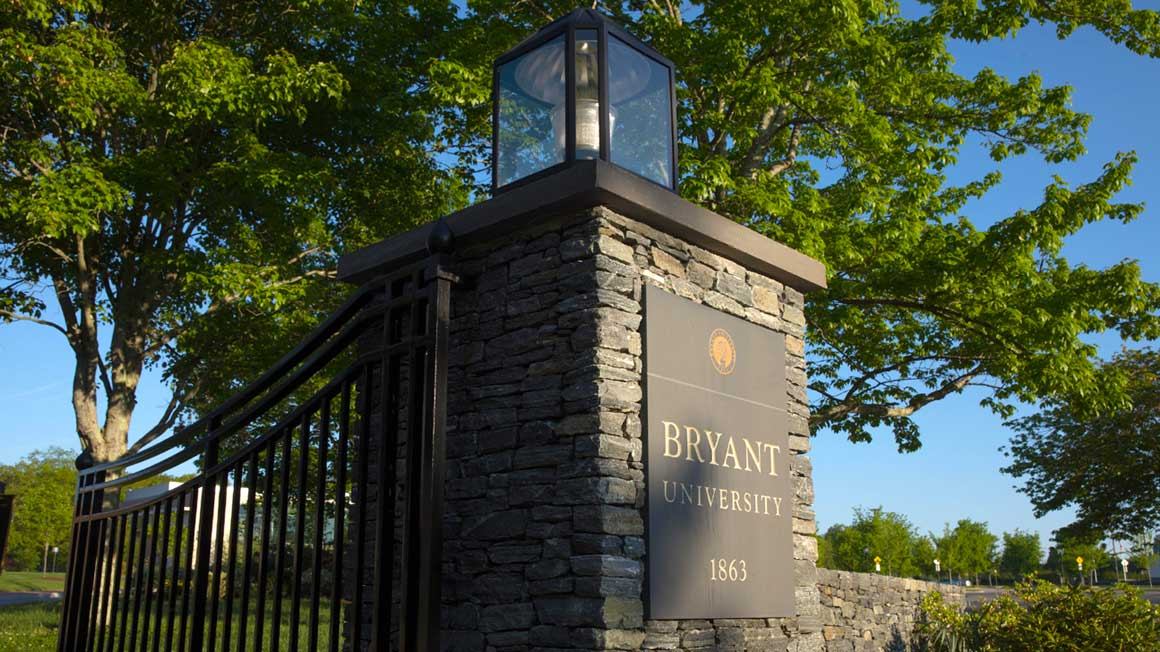 Stone pillar with plaque that reads Bryant University