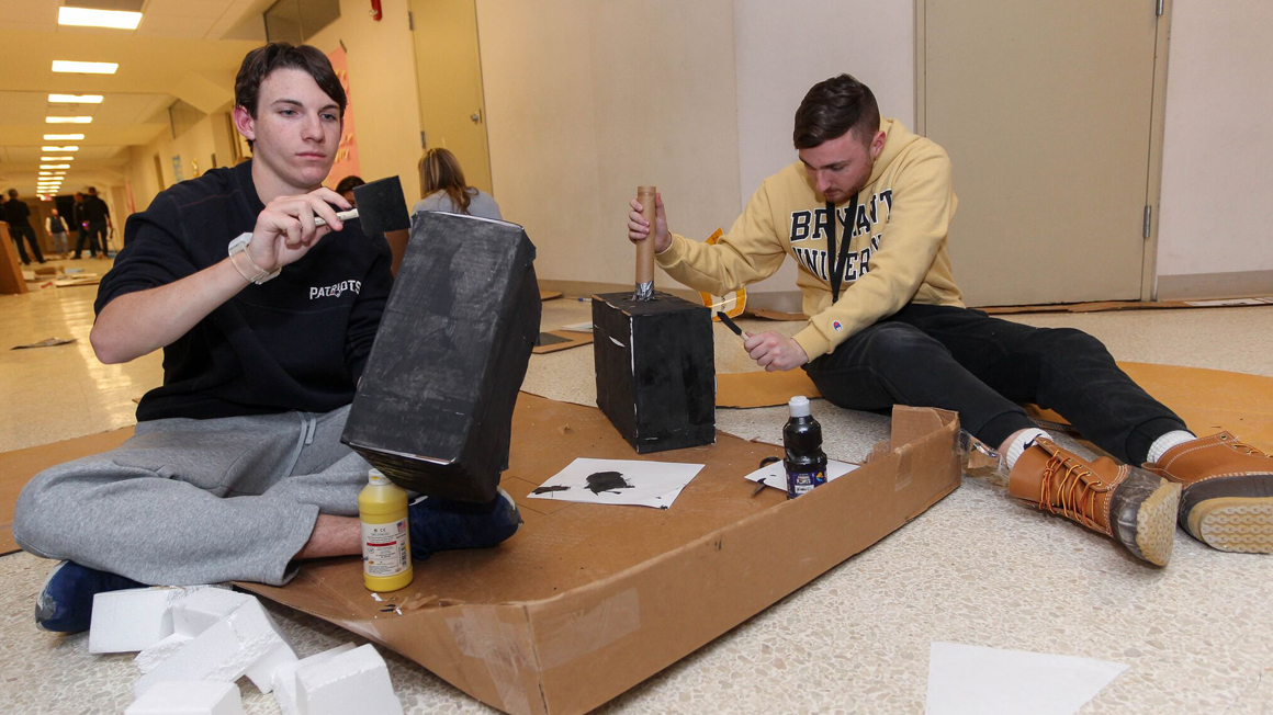 Students work on prototype for Bryant IDEA 2019 project