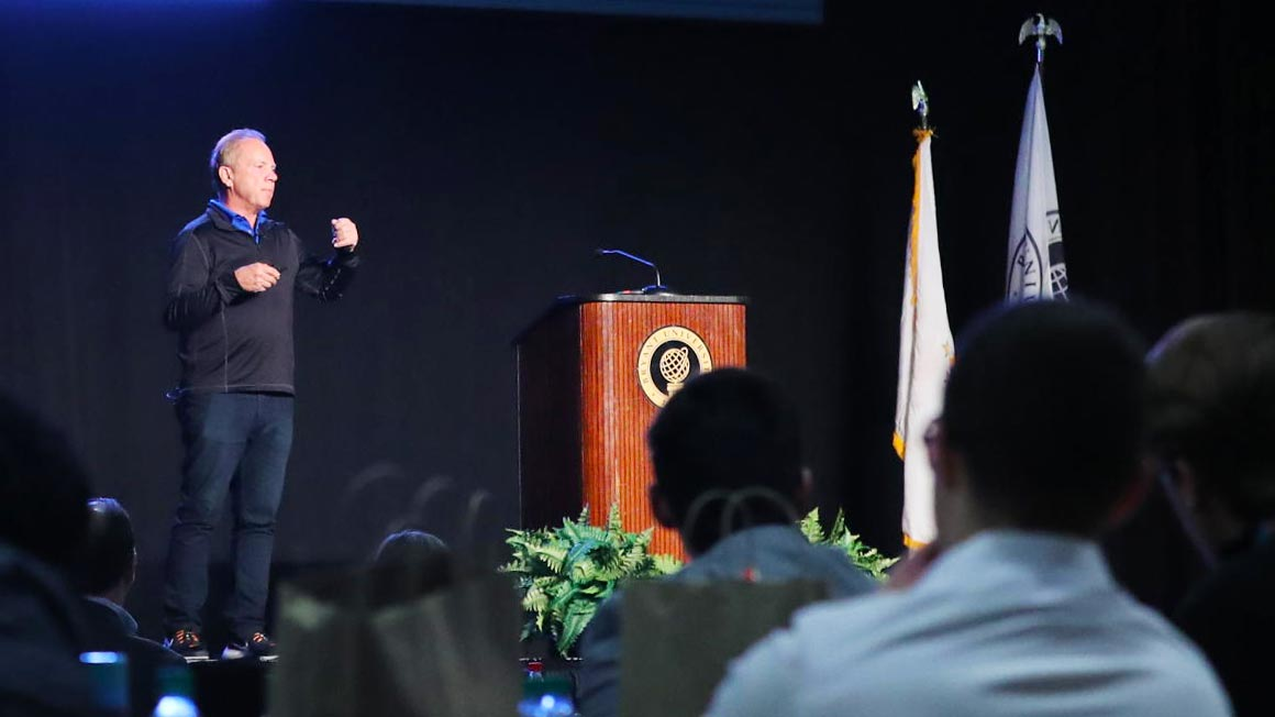 Mitch Lowe, the Co-Founding Executive of Netflix and CEO of Movie Pass, at the 2019 Bryant University Northeast Entrepreneurship Conference.