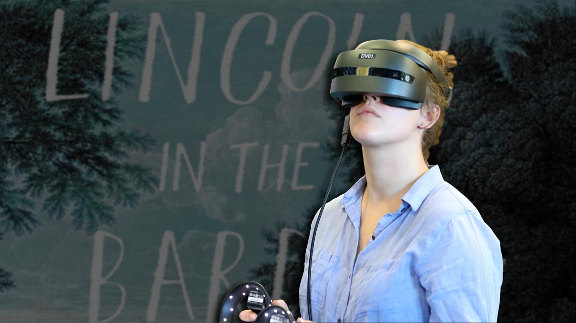 Student using Virtual Reality to explore the novel Lincoln in the Bardo