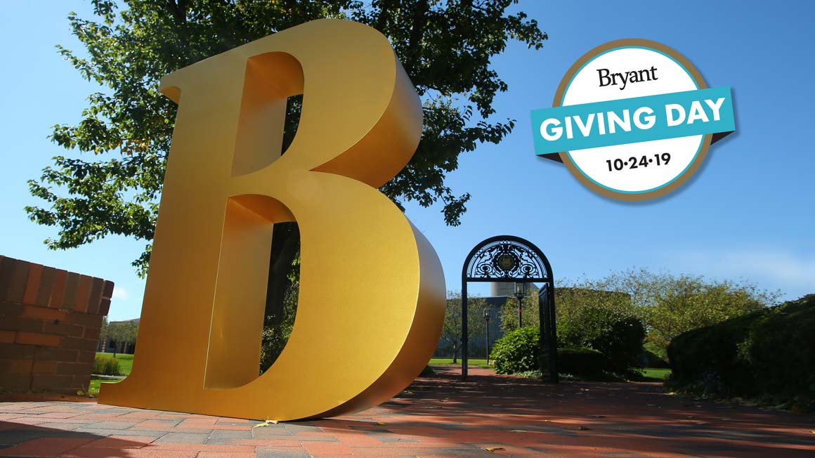 Bryant Giving Day 2019 image featuring oversize letter B