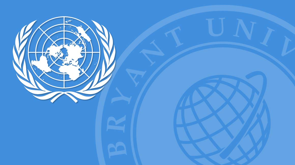 UN logo and Bryant logo on a blue background