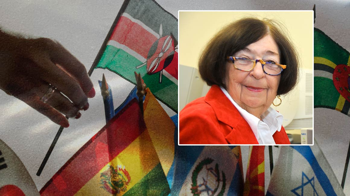 Photo of Berta Hysell superimposed over multicultural flags