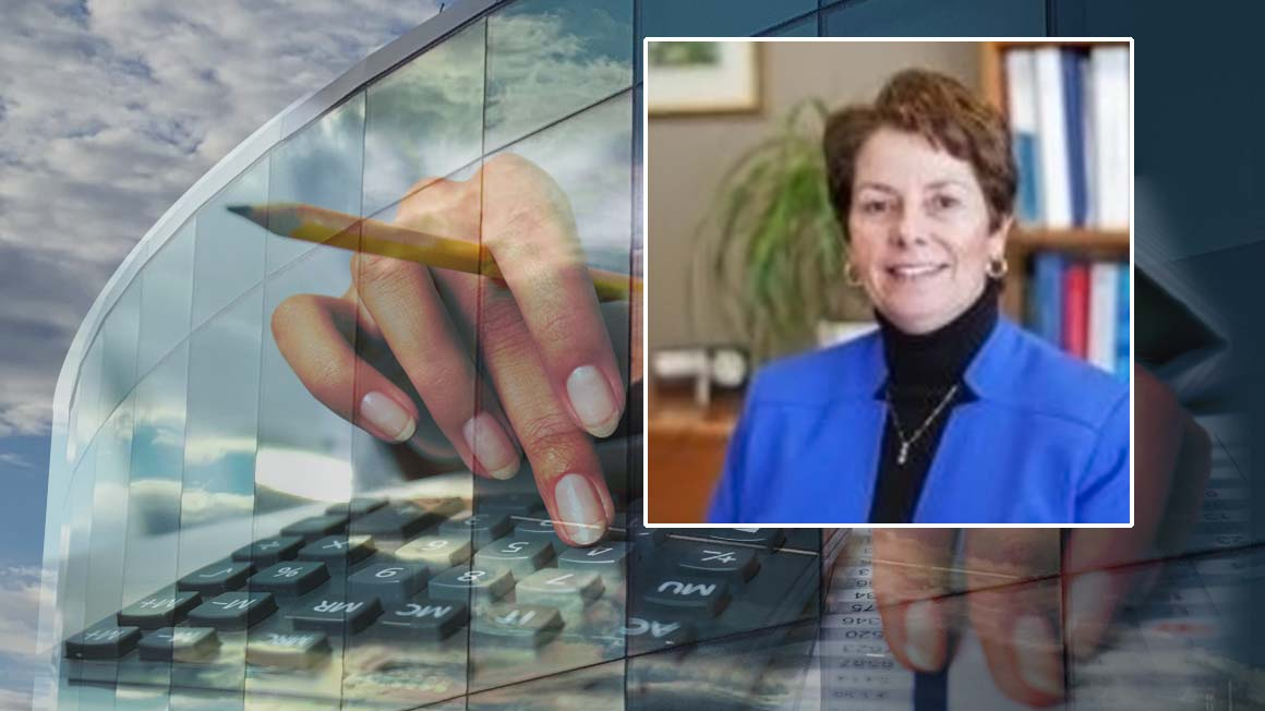 Bryant alumna Catherine Parente '78 superimposed over a Bryant building and hands/keyboard collage