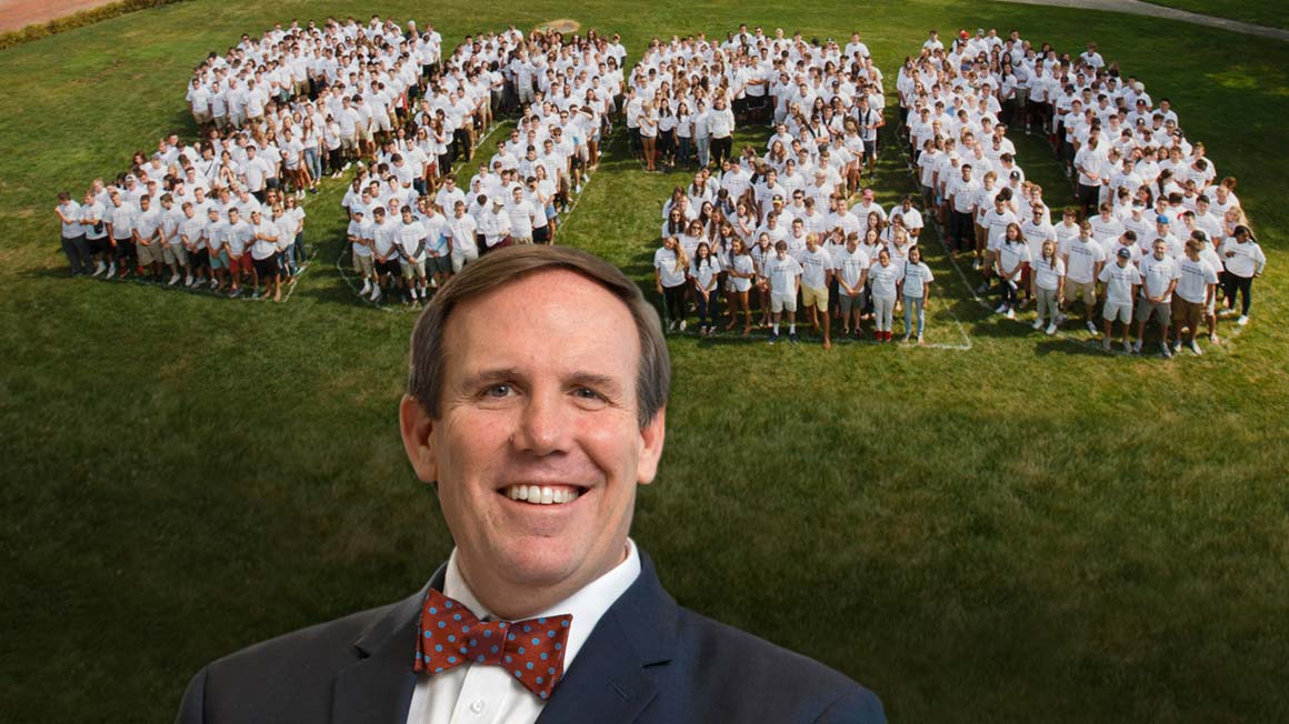 Headshot of Provost superimposed onto Class of 2020 image