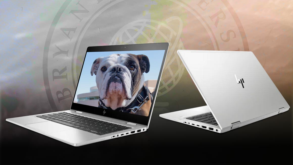 Bulldog mascot photo displays on computer laptop screen