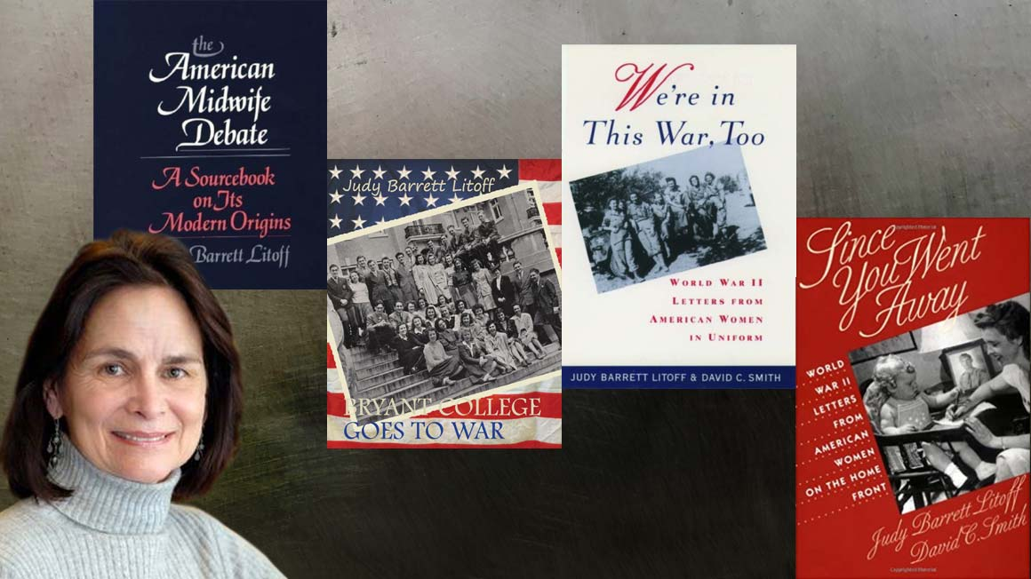 Bryant University Professor Judy Barrett Litoff Ph.D. with some of her many book covers