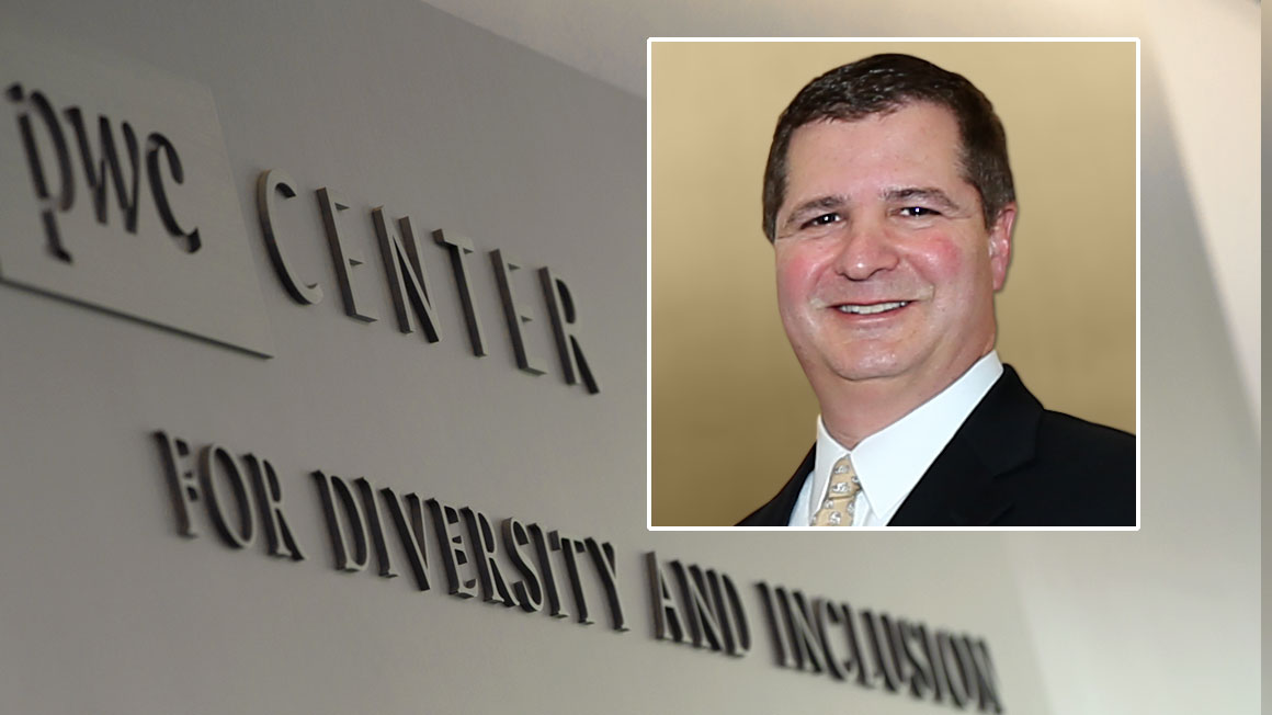 Photo of Robert Calabro, Bryant University Trustee and Partner at PwC, superimposed over a campus PwC Center sign