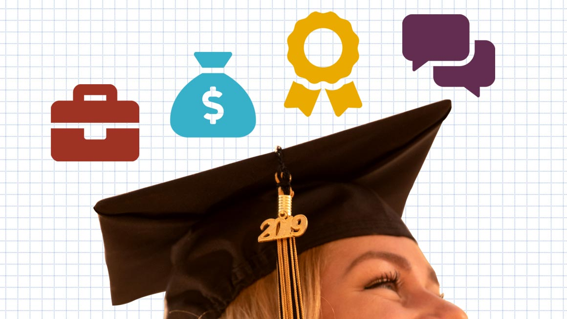 Graphic illustration featuring mortarboard and icons