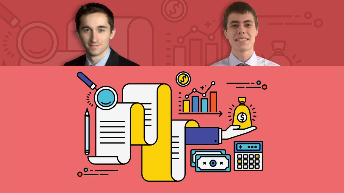 Headshots of Bryant alumni Nicholas Japhet '18 and Benjamin Brayton '19 superimposed over a cartoon-style accounting collage graphic