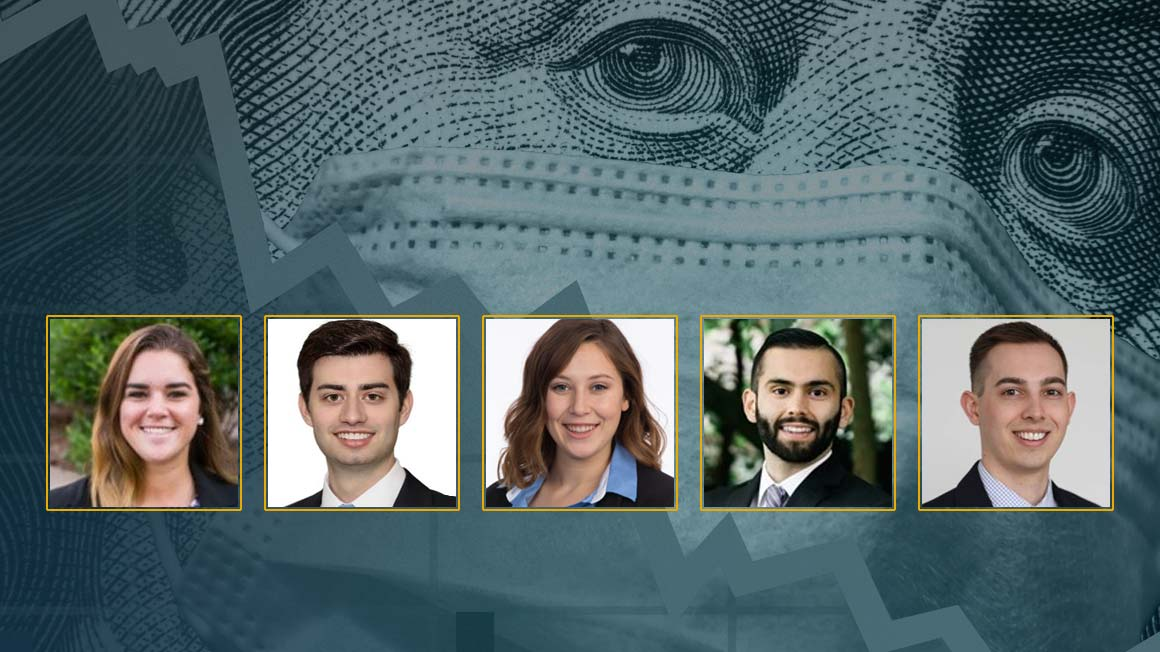 Headshots of Bryant University alumni Finance panelists superimposed over an altered monetary graphic