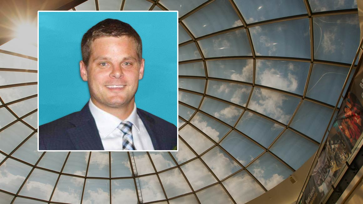 Charles Granatell '08 headshot superimposed over a photo of the glass rotunda