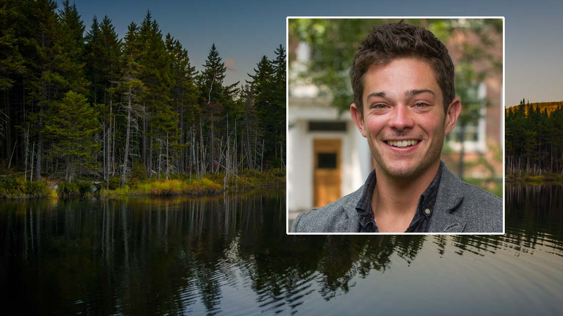 Headshot of Bryant alumnus Scott Lemos '10, Ph.D., superimposed on a tranquil lake scene
