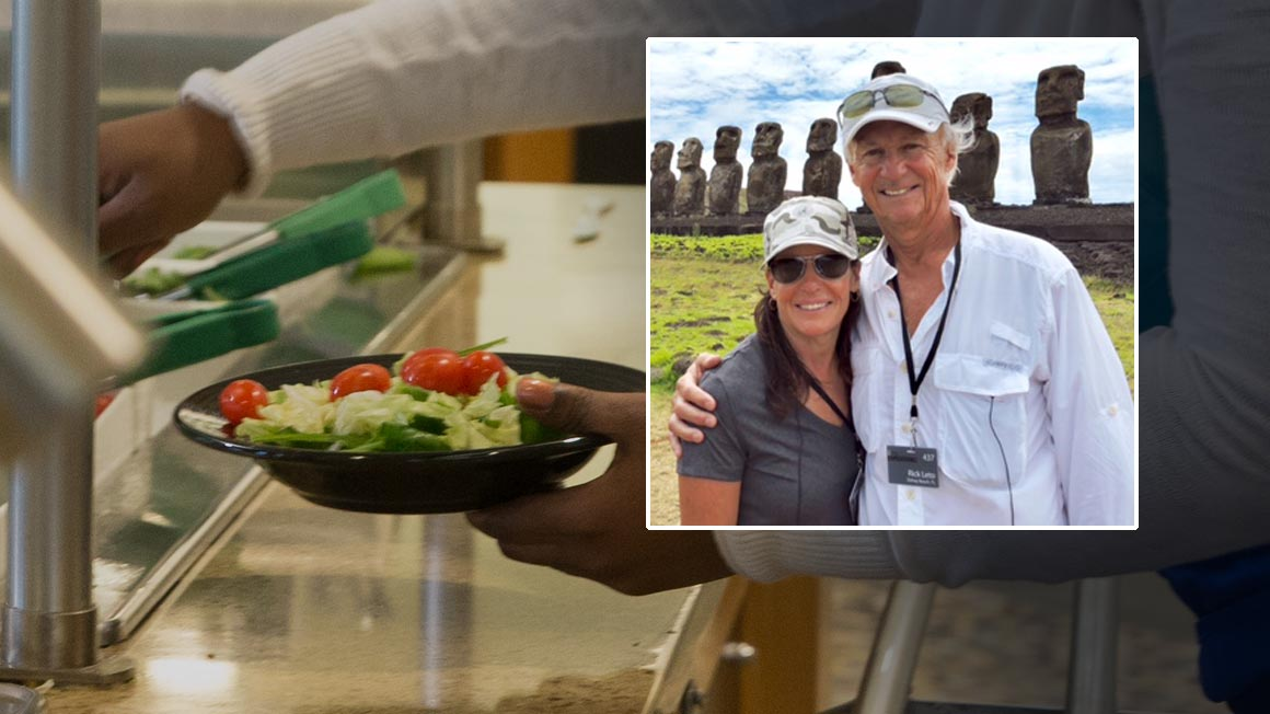 Bryant alumni Richard '73 and Bonnie Leto superimposed over a salad bar scene