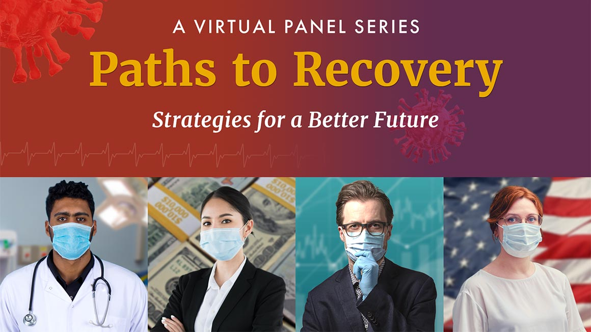 Images of four masked people and title of session: Paths to Recovery