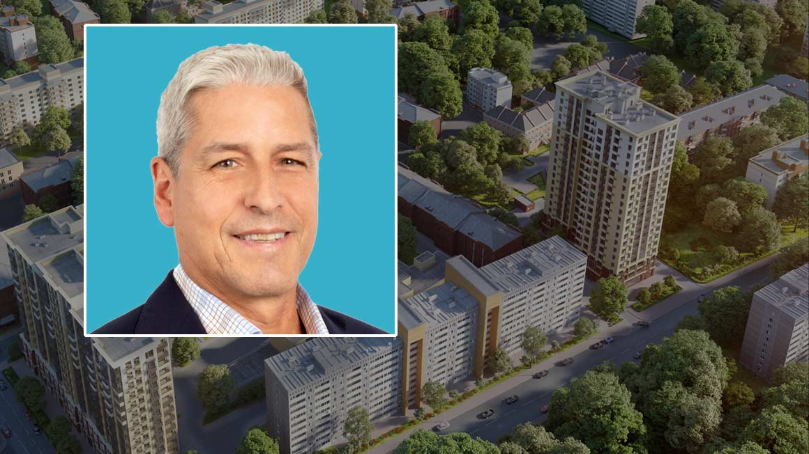 Bryant alumnus David Olney '82 headshot superimposed over a building complex aerial shot