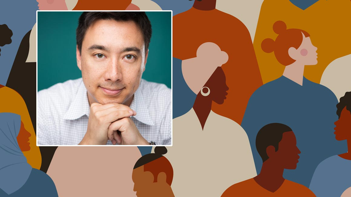 Headshot of Andy Stoll superimposed over illustration of multiracial audience