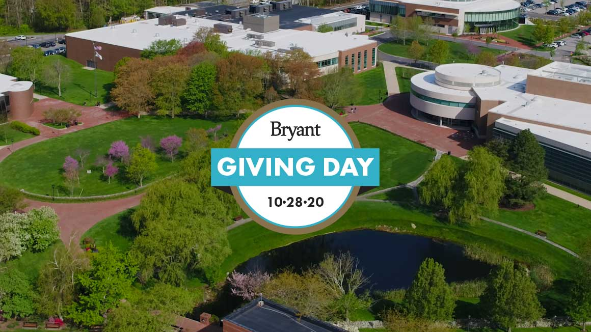 Aerial shot of Bryant campus with Giving Day logo superimposed
