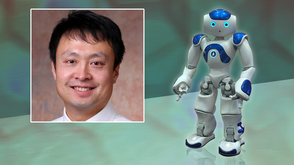 Headshot of professor and photo of the NAO robot