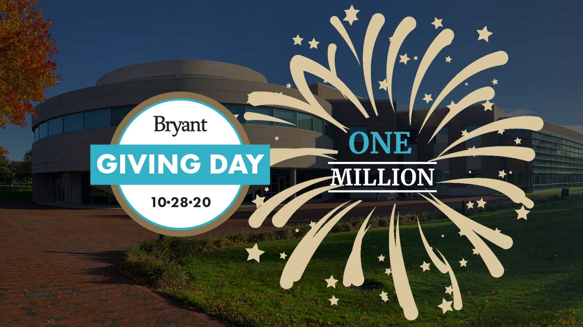 Bryant campus photo with superimposed Giving Day logo and starburst graphic