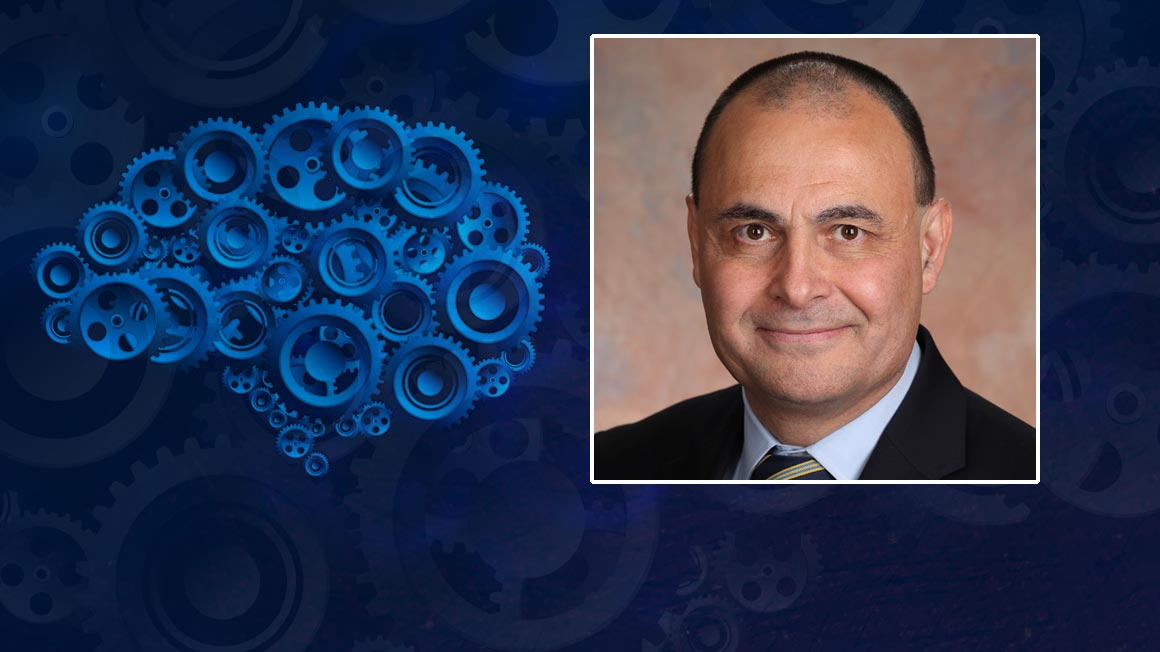 Headshot of Prof Saraoglu with graphic illustration of brain made of cogs