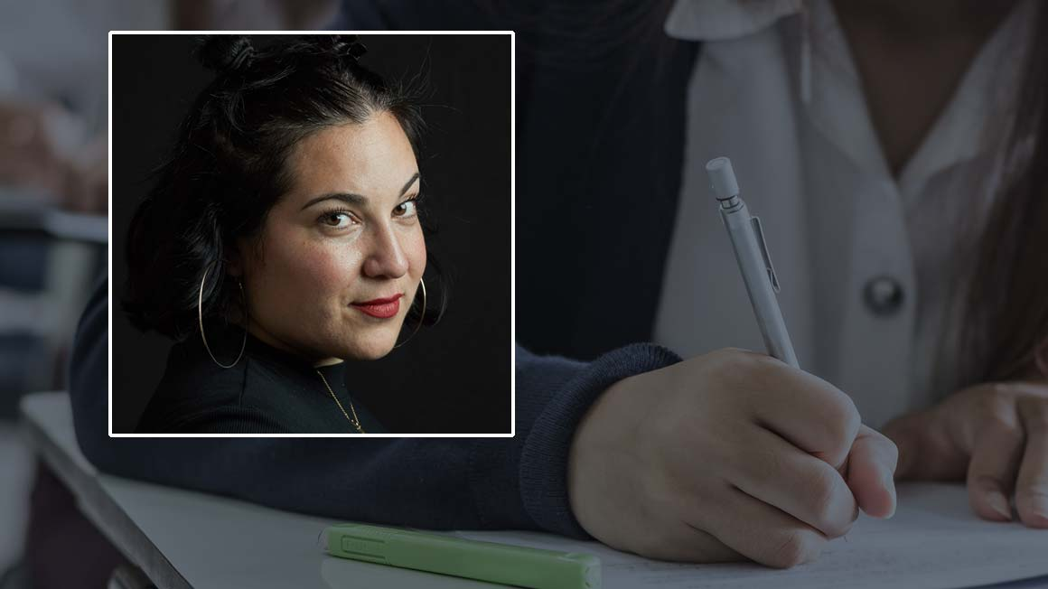 Headshot of Roxanne Cowperthwaite '10 superimposed over student writing