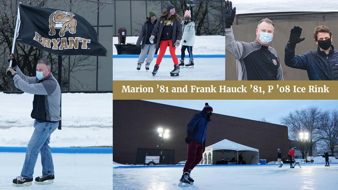 Photo collage of Bryant U community members enjoying outdoor ice rink