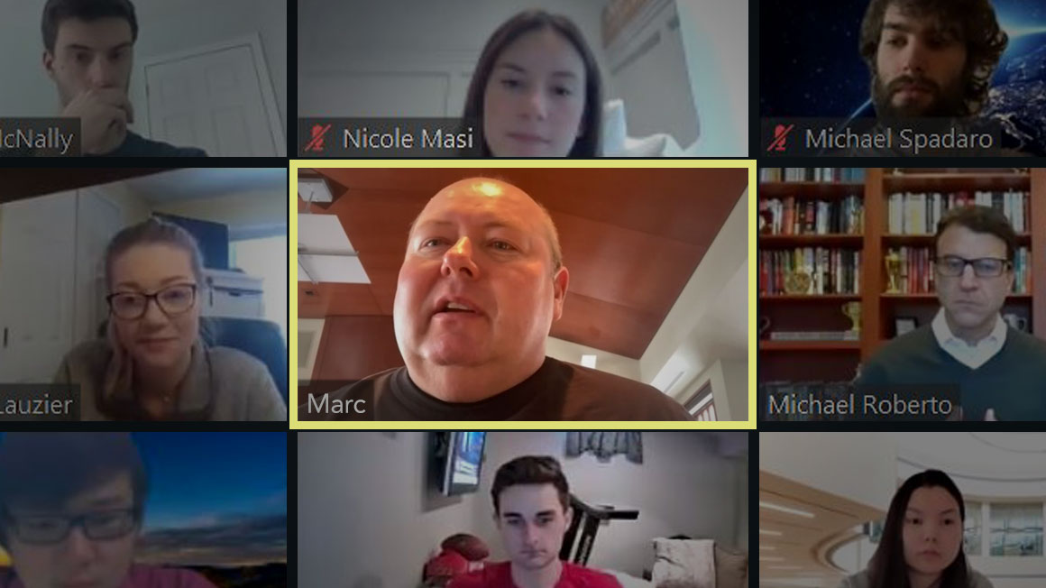 Composite image of Bryant online class featuring speaker Marc Grondahl '88