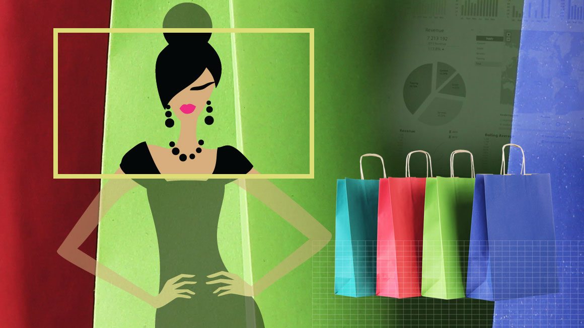Illustration of a woman and shopping bags