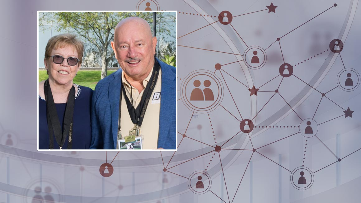 Photo of Bryant alumni and donors Mary and Frank Reis superimposed over an illustration of a networked constellation of figures