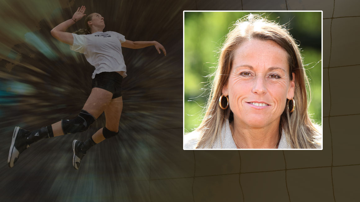 Headshot of Bryant Volleyball coach Theresa Garlacy superimposed over a dynamic photo of a volleyball player in the air