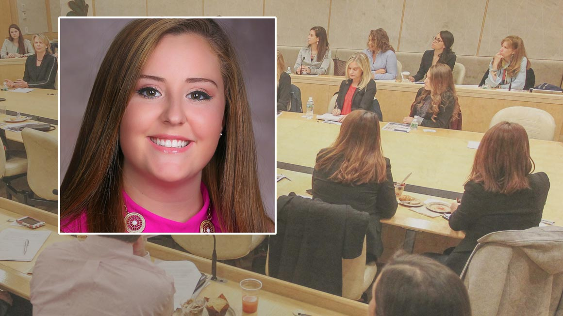Headshot of Kaitlin Dickey superimposed over image of students around table