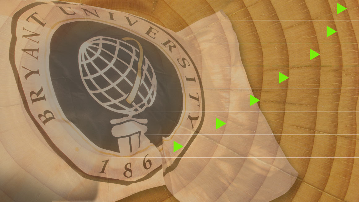 Bryant University flag with illustration of tree rings and progress markers