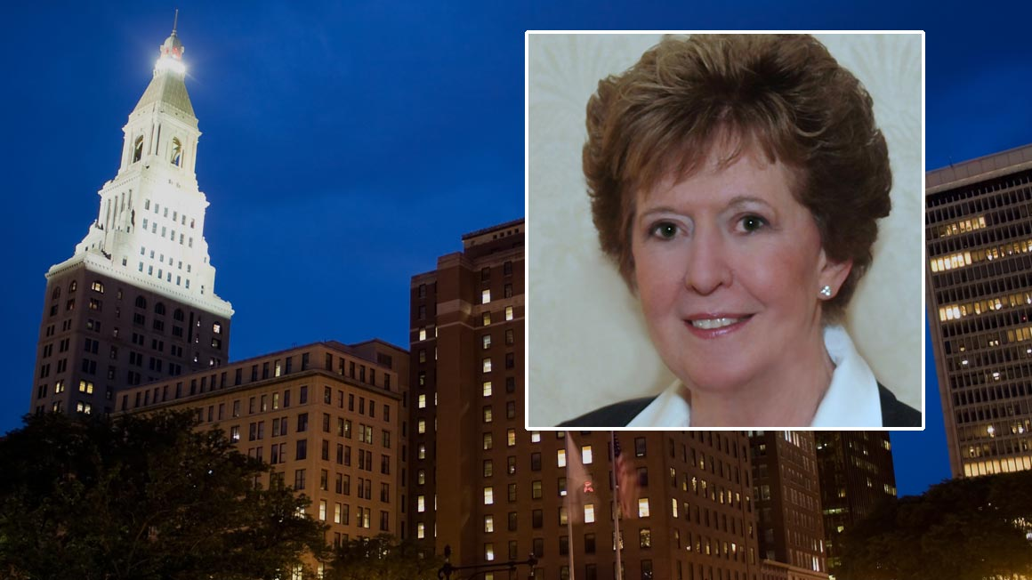 Headshot of Bryant alumna Margaret Lawson '53 superimposed over Hartford, CT skyline photo