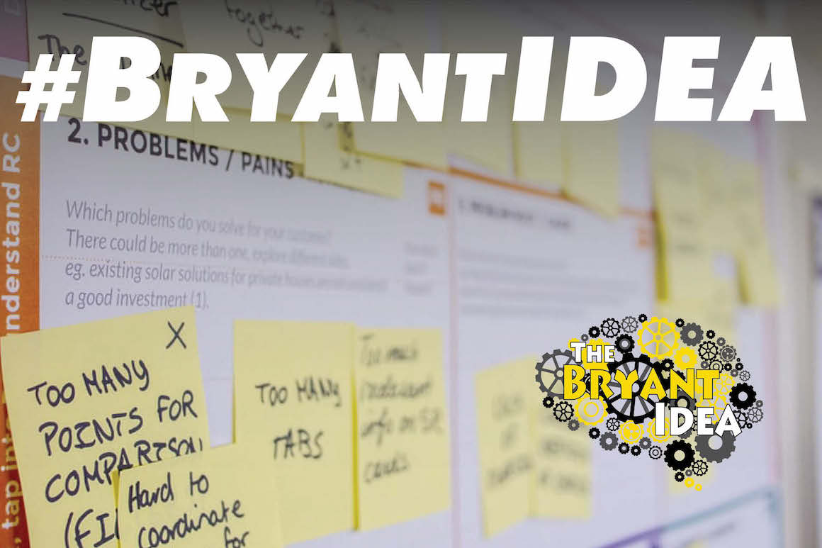 Bryant IDEA logo and hashtag and Post-It notes